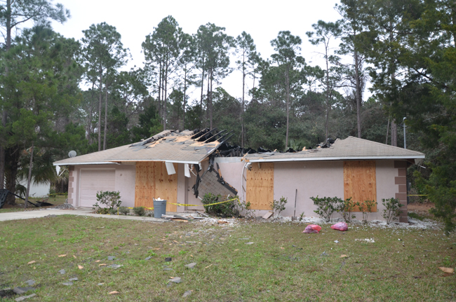What's left of the house on Utica Path in Seminole Woods. (c FlaglerLive)