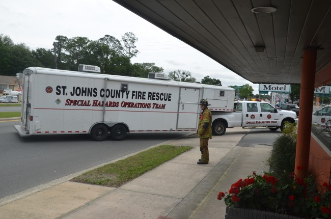 The St. Johns HazMat unit arrived at the Budget Motel at 1:24 p.m. (c FlaglerLive)