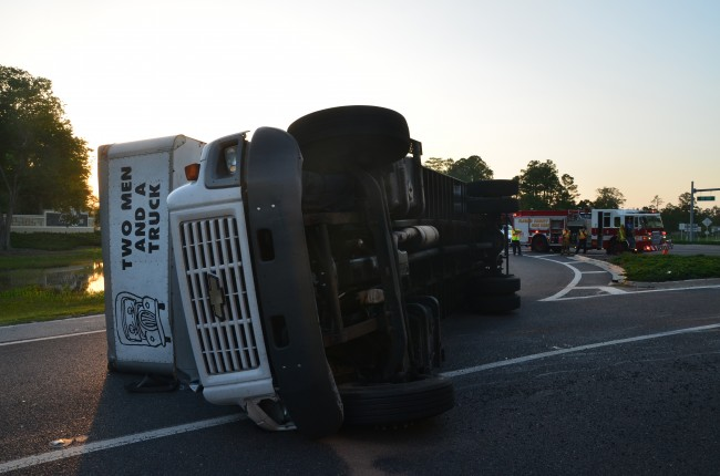 The truck blocked on-ramp to southbound I-95. Click on the image for larger view. (© FlaglerLive)