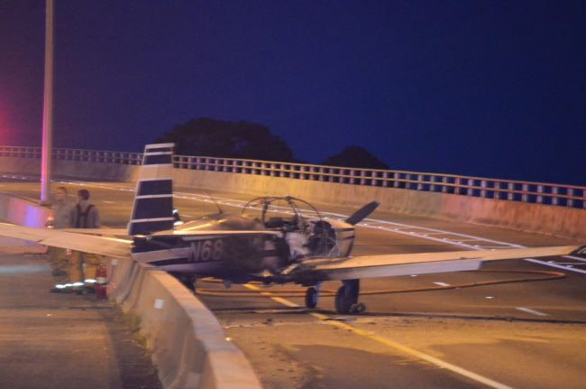 The plane this evening half an hour after the emergency landing. Click on the image for larger view. (c FlaglerLive)
