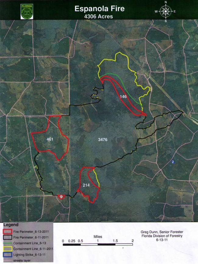 espanola fire map boundaries june 13 2011