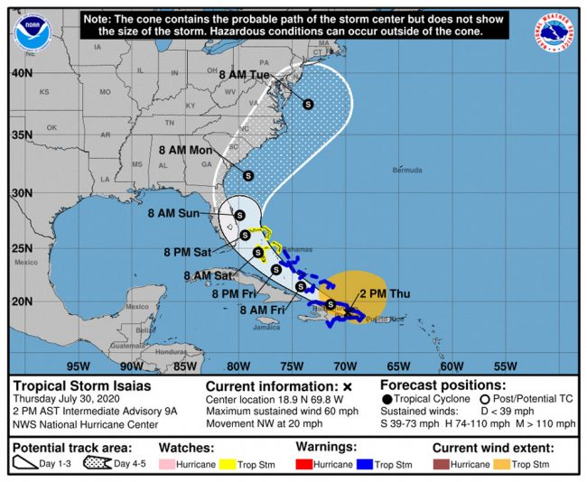 Tropical Storm Isaias's path according to Thursday's 2 p.m. update.