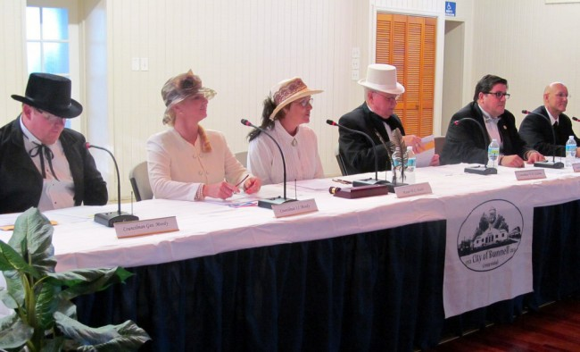 The 2013 commission as the 1913 commission. From left, John Rogers, Jenny Crain-Brady, Catherine Robinson, Bill Baxley, Armando Martinez and Elbert Tucker. (George Hanns)
