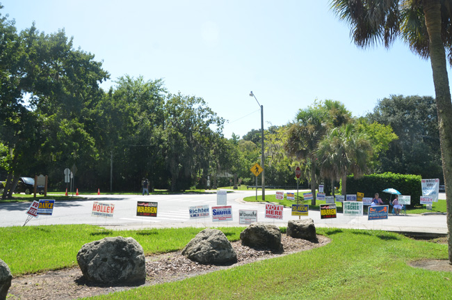 The scene at the Palm Coast Community Center just at midday. It was another slow day at the polls. (© FlaglerLive)