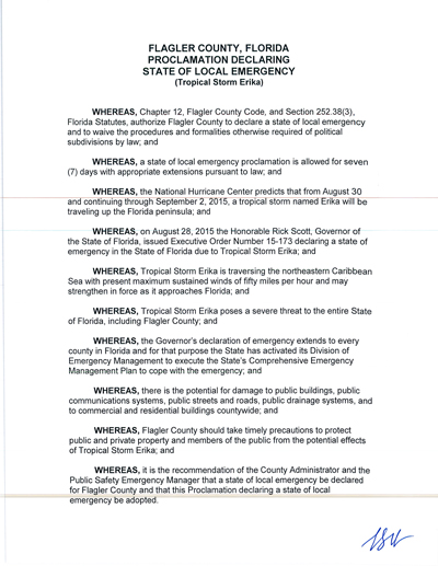 flagler county state of emergency 2015