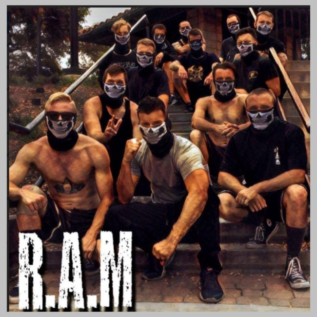 In an undated photo posted to their since-deleted Instagram account, RAM members pose in skull masks.