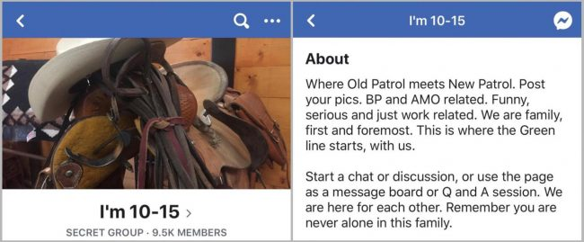 A screenshot showing the title of the Facebook group, left, and the description.