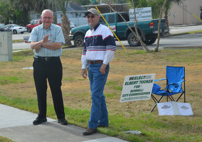 Bill Baxley, left, and Elbert Tucker, a few hours before their victory today. (© FlaglerLive)