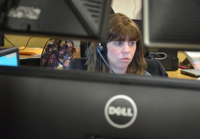 The Flagler County Sheriff's Josie Gammon, a 12-year dispatcher at the 911 center, has fielded her share of traumatic calls. she did so again Saturday, talking a man down from shooting himself. (© FlaglerLive)