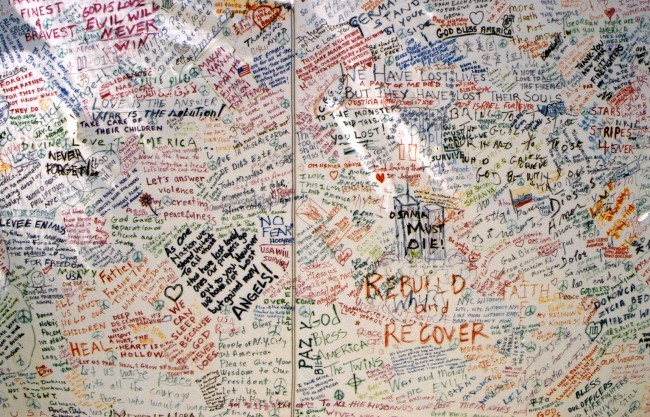 A memorial drape spread in Manhattan's Washington Square Park a few days after the attacks of 9/11. Click on the image for larger view. (© FlaglerLive)