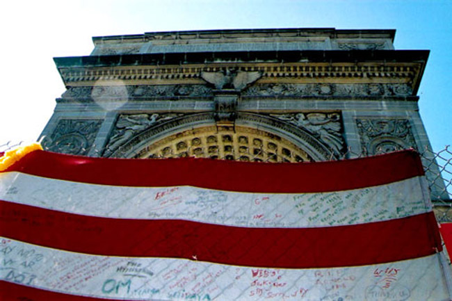 At Washington Square Park in Manhattan, a few days after the 9/11 attacks. (© FlaglerLive)