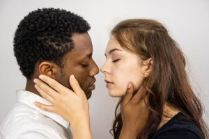 """Brent Jordan is Tom and Nikki Lynn is Amber in City Repertory Theatre's production of """"Actually,"""" a play about a young black man and a young white woman who become mired in a he said/she said, was-it-date-rape scenario. Photo by Mike Kitaif"""