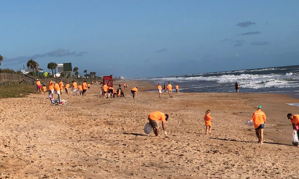 On Sept. 22, over 150 volunteers joined AdventHealth Palm Coast to clean-up along Flagler Beach. Medical oncologist Dr. Padmaja Sai brought her daughter Ashana, who in turn encouraged 35 of her friends from high school to join this effort. All in all, the group picked up 10 large bags of trash from the beach. (AdventHealth)