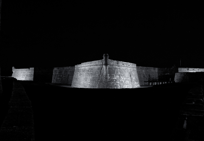 Night falls on Castillo de San Marcos in St. Augustine, one of 401 National Park Service sites affected by the federal government shutdown. (Chris Foster)