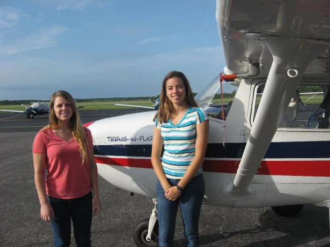 Cora Jo Rand (left) and Gigi Gonzalez at the Flagler County Airport. (Teens in Flight)