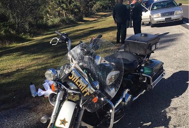 Flagler County Sheriff's Deputy Wood's motorcycle after the crash this afternoon. (FCSO)