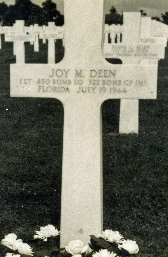 The author's uncle, Joy Deen, flew his B-26 in support of the D-Day invasion and was killed in action about 6 weeks later on July 19, 1944, when the aircraft he was piloting was hit by flak. The target was a railway bridge at Nantes, crossing the rive Loire. This is his grave stone at the St James Cemetery in Nancy, France. click on the image for larger view. (© Sisco Deen)