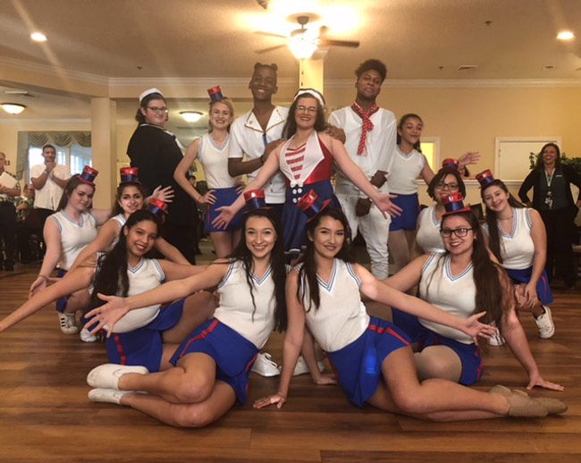 Flagler Palm Coast High School's dance troupe at Brookdale assisted living. (FPC)