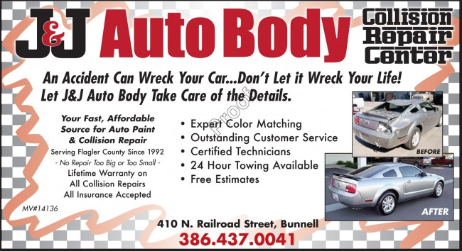 J&J auto body shop paint repairs bunnell