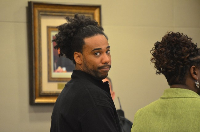 Jacquez Roland, immediately after he heard the verdict that will have him in prison until at least 2043. Click on the image for larger view. (© FlaglerLive)