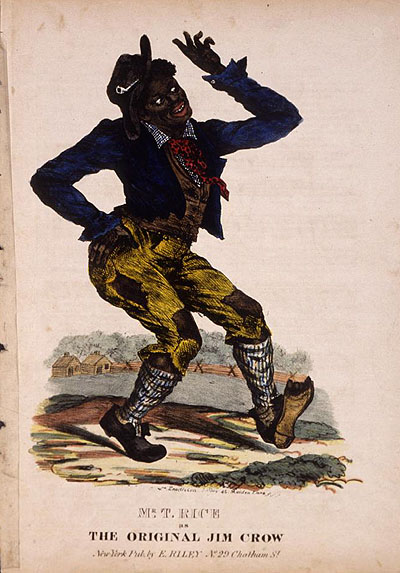 """An illustration to an early edition of Thomas Rice's sheet music to """"Jim Jim Crow."""""""