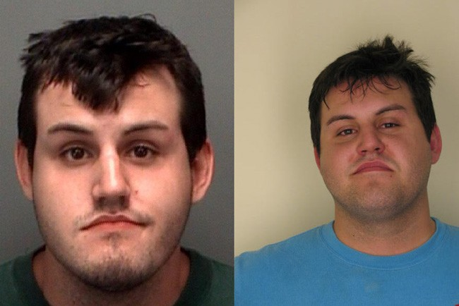 John Jonchuck Jr in a pair of booking photos  from Hillsborough (right) and Pinellas counties.