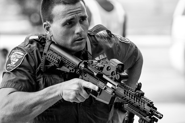 The Flagler County Sheriff's Jonathon Duenas, a member of the department's SWAT team, taking part in today's active-assailant exercise at Flagler Palm Coast High School. (© Jon Hardison for FlaglerLive)