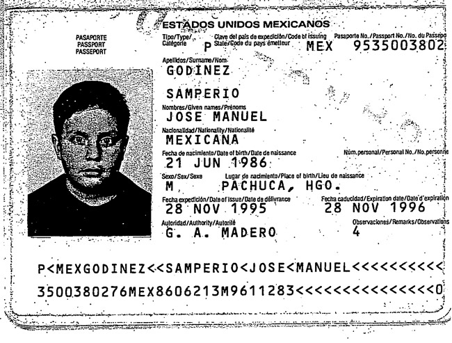 A page from Jose-Godinez Samperio's Mecican passport.