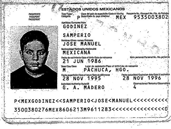A page from Jose-Godinez Samperio's Mecican passport.