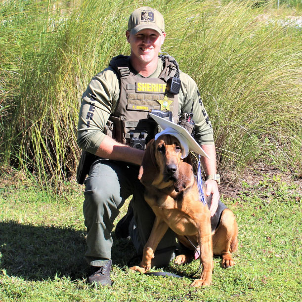 K-9 Holmes, graduating from 250 hours of training with Cpl. Gimbel last November. (FCSO)