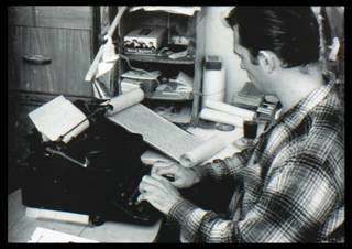 Jack Kerouac at work on The Dharma Bums in Orlando, in 1958. (Fred DeWitt, courtesy of the Orange County Regional  History Center)