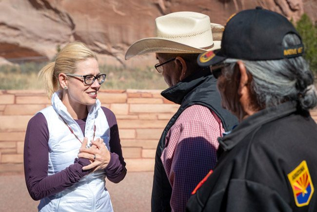 Kyrsten Sinema can't believe it: she is the first woman to be elected Senator from Arizona, the first Democrat to be elected from Arizona in 23 years, and the first openly bisexual member of the Senate. (Facebook)