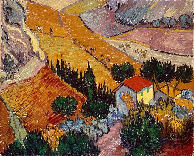 Van Gogh's 'Landscape With House and Ploughman,' 1889. From Wikiart: This landscape is unusual in its elevated, almost bird's-eye point of view. Such an angle can be seen as an attempt to look at the world in the Japanese way, natural for an artist obsessed with Japan. However, we cannot speak of serious influence here: Van Gogh's view was individual and came from his own impressions. The dynamism distinguishing this canvas is alien to Far Eastern landscapes. The painting has an enormous internal energy. The crossing diagonals forming the borders of the fields and the ploughed furrows, the contours of the roofs, the row of cypresses - such vectors strain the composition, but not so much as to disturb the unity of the whole. It is a study from nature. The colouring of the painting and the action of the figures show us that it was executed in autumn, a time when Van Gogh worked not only on the hospital grounds, but outside them as well.