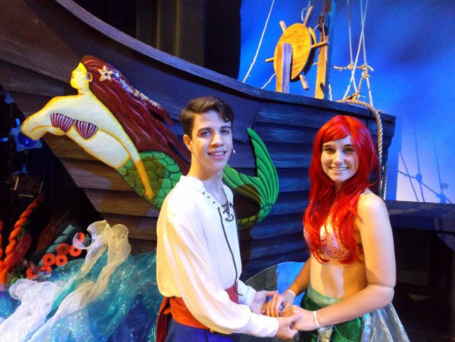 "Austin Branning is Prince Eric and Samantha Shumaker is Ariel in the Flagler Palm Coast High School production of ""The Little Mermaid."" The musical runs May 10-12 at Flagler Auditorium. (© FlaglerLive)"