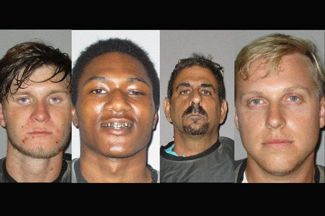 From left, Andrew J. Krupp, 20, of Palm Coast, Qwajon R. Laster, 20, of Bunnell, Raymond Amara, 54, of Palm Coast, and Jacob Robertson of Flagler Beach
