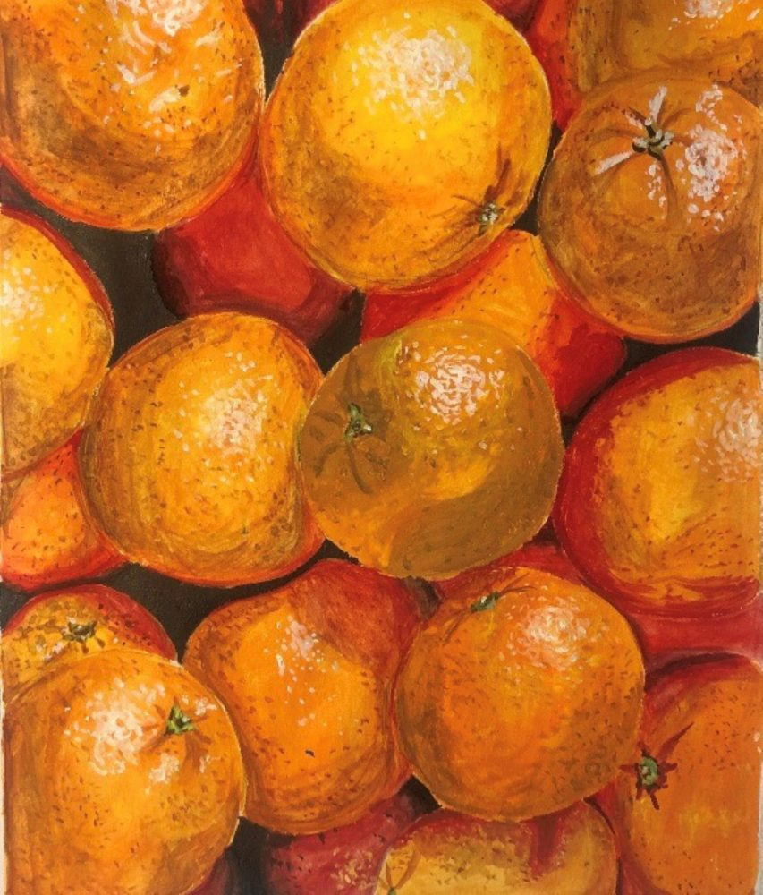 """""""Oranges"""" by Christina Courson won the Painting category."""