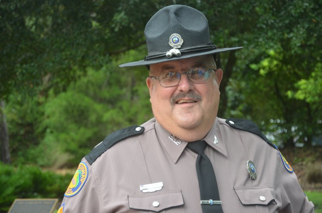 FHP's Cpl. Pete Young has been on Flagler's roads since 1976. He has no plans to quit. (© FlaglerLive)