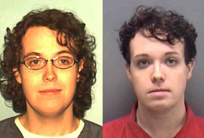 Reiyn Keohane in her Florida prisons mug shot, left, and in her Lee County mug shot from 2013, when she was arrested for attempted second degree murder. The Florida prison system still lists her as male.
