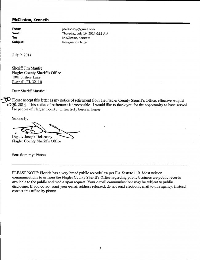 Delarosby's July 10 resignation letter. Click on the image for larger view.