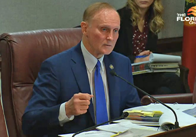 A proposal by Sen. David Simmons, a Longwood Republican, was outflanked by Sen. Greg Steube's proposal in a committee vote today. (Florida Channel)