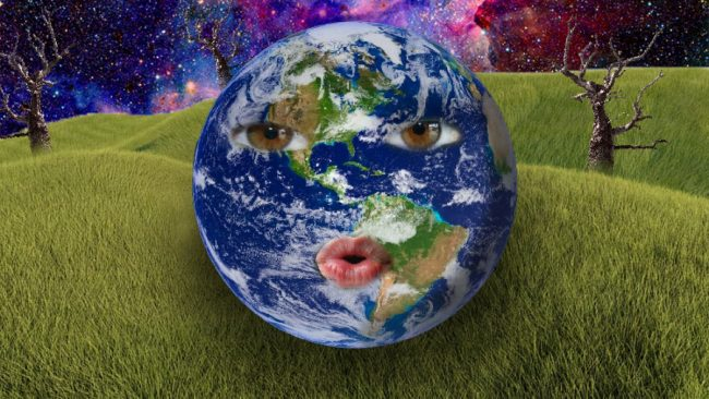 """""""Smiling Earth,"""" a graphic design by Jaiden Arnett, won Second Place of Show in the 2021 High School Student Show."""
