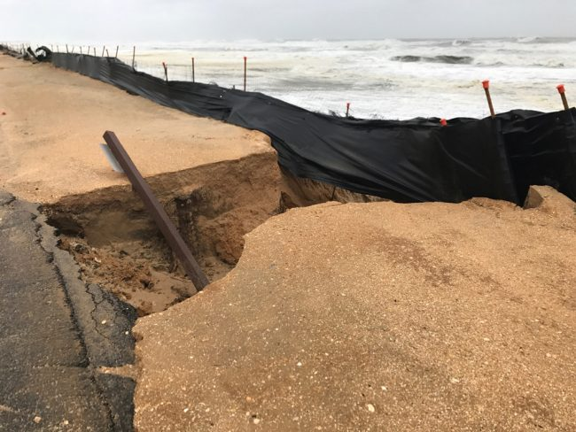 All told, A1A came through well, with only minor damage not unlike that seen during short, heavy rain events. This is near Ocean Grill. (Tony Roy)
