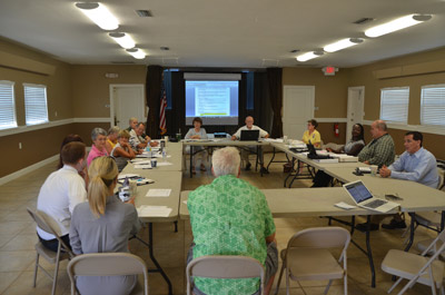 The A1A Scenic Pride Committee meeting at the Hammock Community Center last summer, during a discussion over concerns that tweaks o county ordinances may push A1A in the Hammock a more commercial, less regulated direction. (© FlaglerLive)