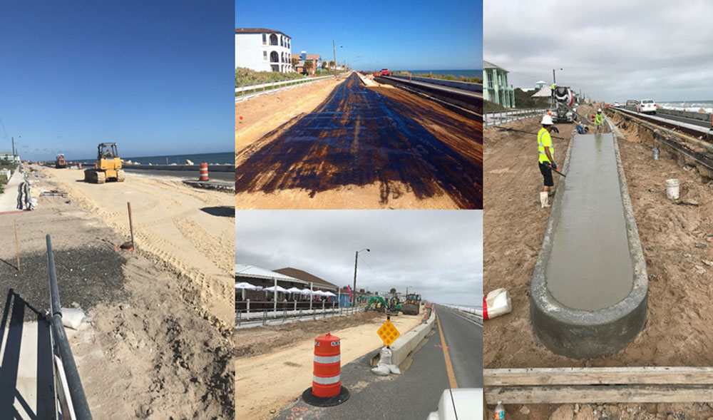 The look of ongoing construction on State Road A1A in Flagler Beach. (DOT)