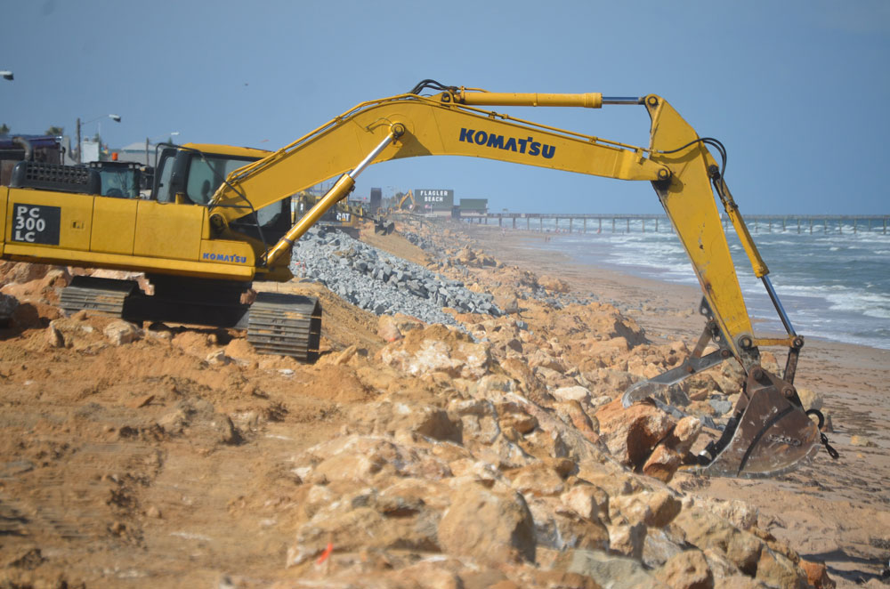 The 2.6-mile length of the U.S. Army Corps project to rebuild dunes will parallel much of the length of the state Department of Transportation's repair of the beach, with boulders, in the wake of Hurricane Matthew in 2016. (© FlaglerLive)