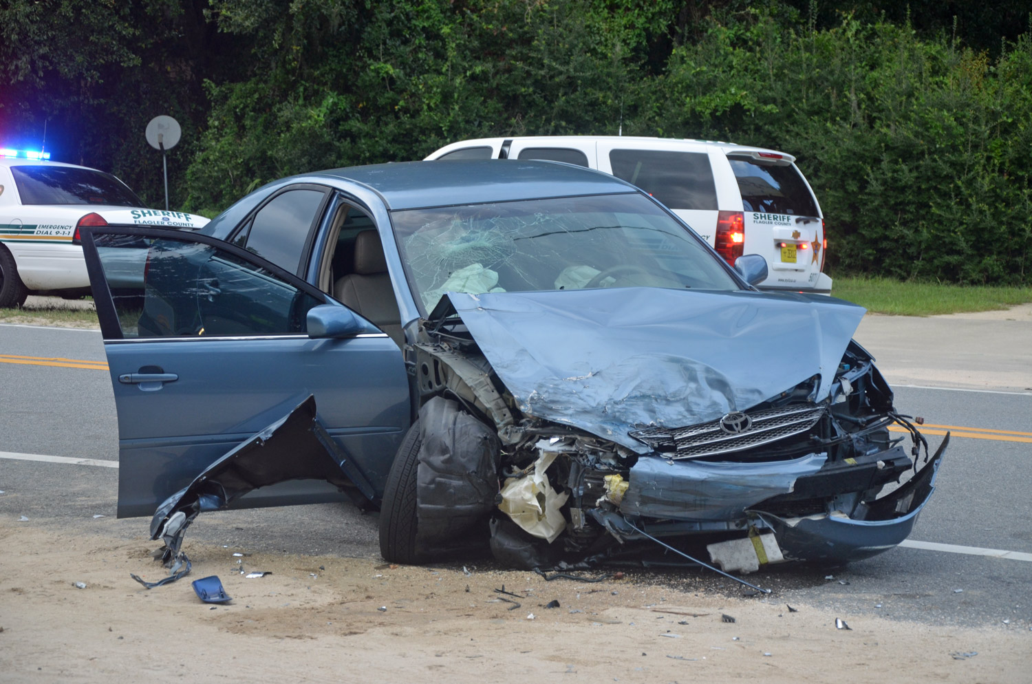 two palm coast women and a child were in the toyota that took the brunt of the collision in the two car wreck wednesday afternoon on a1a
