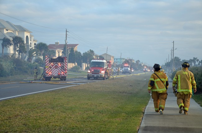 A busy scene on A1A this afternoon. Click on the image for larger view. (© FlaglerLive)