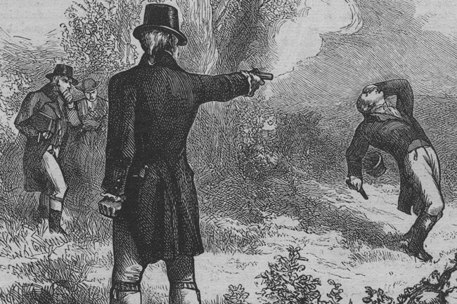 It was on this day in 1804 that Aaron Burr killed Alexander Hamilton in a duel in Weehawken, N.J., across from Manhattan. In 'War and Peace,' Tolstoi wrote: ' If you are going to fight a duel, and you make a will and write affectionate letters to your parents, and if you think you may be killed, you are a fool and are lost for certain. But go with the firm intention of killing your man as quickly and surely as possible, and then all will be right, as our bear huntsman at Kostroma used to tell me. 'Everyone fears a bear,' he says, 'but when you see one your fear's all gone, and your only thought is not to let him get away!' And that's how it is with me.'