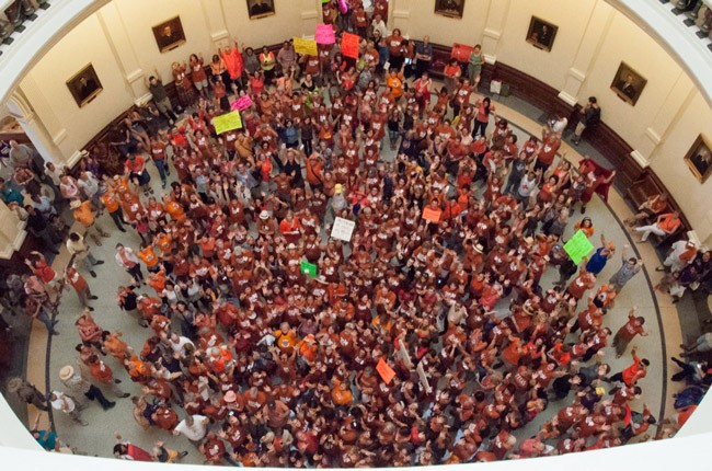 An abortion rights rally at the Texas capitol in 2013. Many more like it are expected this year in light of two potentially sweeping Supreme Court decisions. (Ann Harkness)