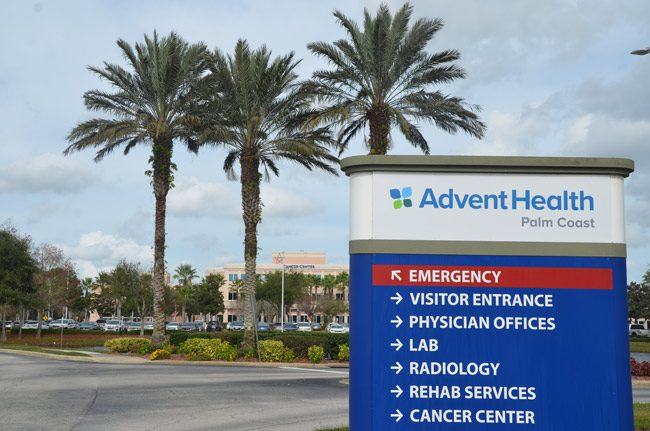 Signs have changed on the campus of what used to be Florida Hospital Flagler, now AdventHealth Palm Coast. (© FlaglerLive)